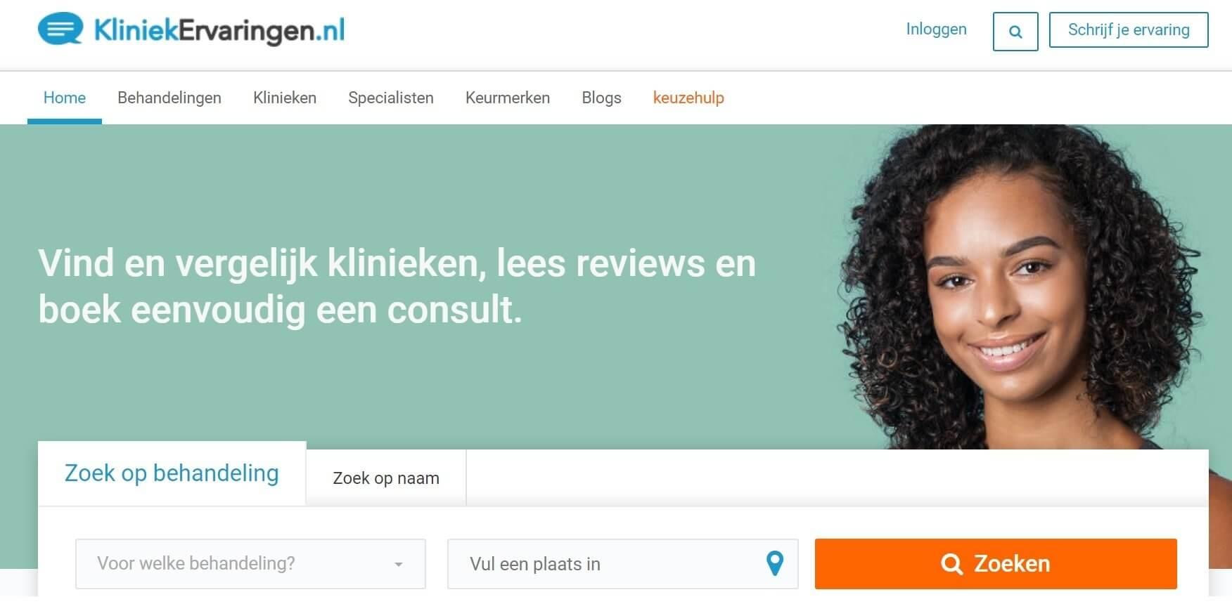 Screenshot kliniekervaringen.nl